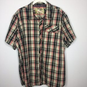 MOSSY OAK Mens Short Sleeve Plaid Button Up